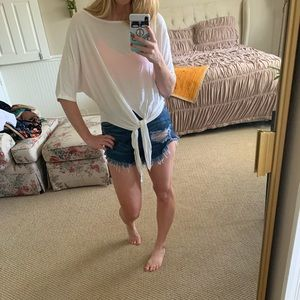 White Front Knot Tee